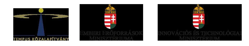 Tempus Közalapítvány logó, Emberi Erőforrások Minisztériauman logó, Innovációs És Technológiai Minisztérium logó